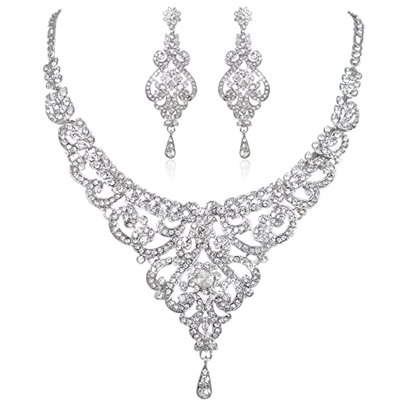 Vintage Style Jewelry, Retro Jewelry EVER FAITH Bridal Silver-Tone Flower Clear Austrian Crystal Necklace Earrings Set $29.99 AT vintagedancer.com