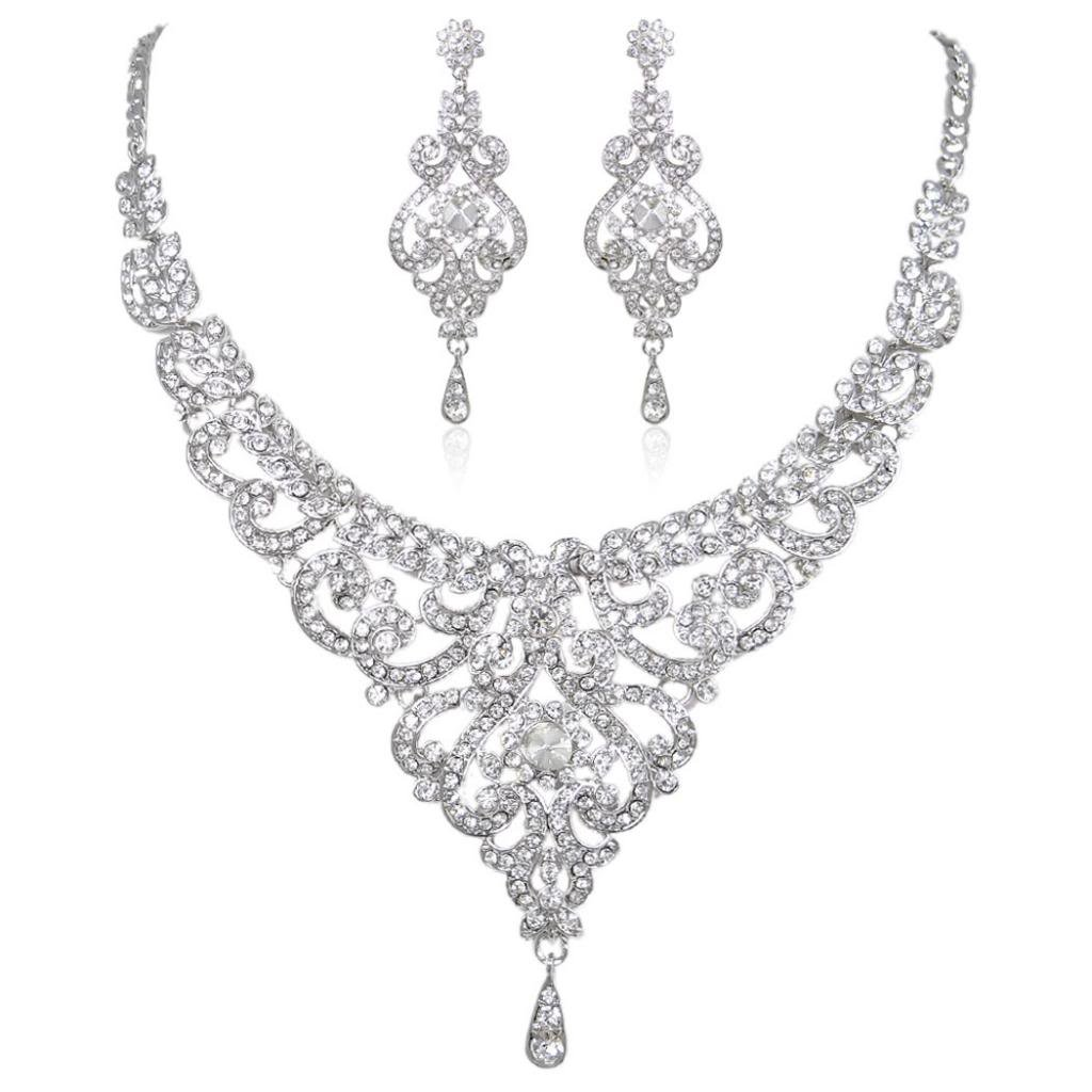 EVER FAITH Bridal Silver-Tone Vase Flower Clear Austrian Crystal Necklace Earrings Set