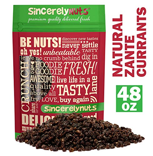 (Sincerely Nuts Currants (3 LB) - Zante Currants - Dried Grapes - Black Corinth-Sweet Flavor Addition to Many Meals - Vegan & Kosher)