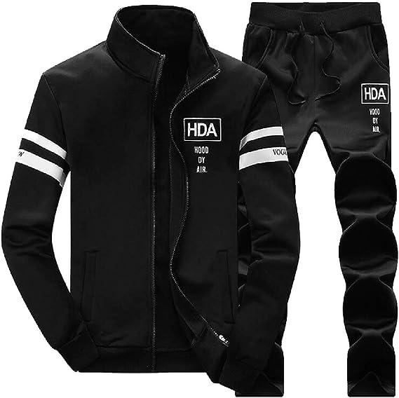 xtsrkbg Mens Slim Sports Thicken Jacket Sweatpants Outdoors Tracksuit Set