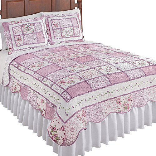 Collections Etc Reversible Patchwork Classic Floral Quilt with Scalloped Border, Rose, Full/Queen (Quilt Border)