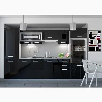Grand JUSTyou Infinity LED Cuisine équipée Complète 300 Cm Couleur: Noir Laqué  Haute Brillance
