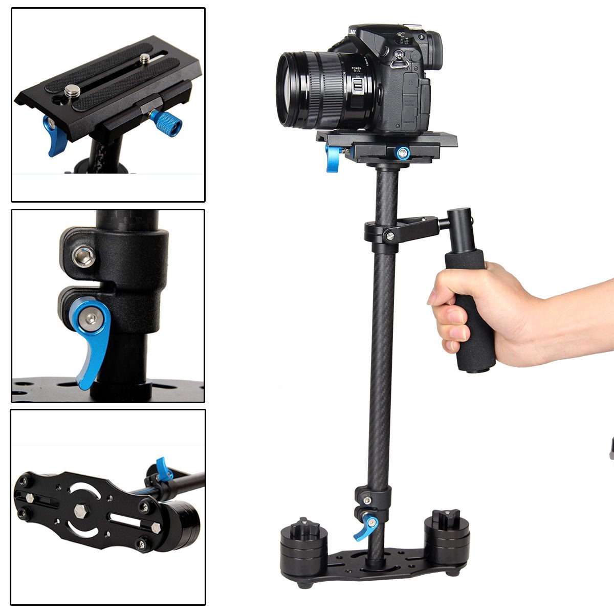 YaeCCC YELANGU S60T Carbon Fiber 24''/60cm Handheld Stabilizer with Quick Release Plate 1/4 and 3/8 Screw for DSLR and Video Cameras up to 0.5-3kg