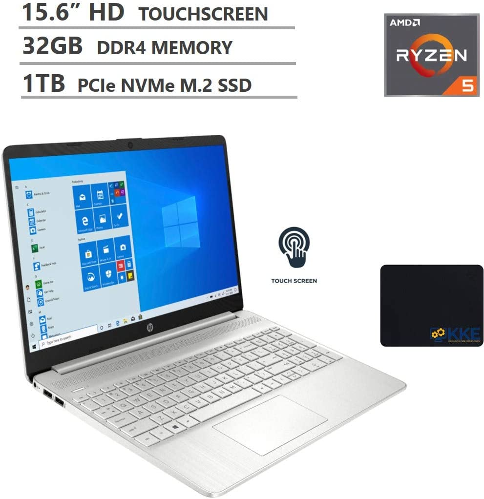 "HP Laptop, 15.6"" HD Touchscreen, AMD Ryzen 5-3500U Processor up to 3.7 GHz, 32GB DDR4 Memory, 1TB PCIe SSD, Webcam, Wireless-AC, Bluetooth, Type-C, HDMI, Windows 10, Silver, KKE Mousepad"