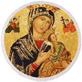 Pixels Round Beach Towel With Tassels featuring ''Our Lady Of Perpetual Help '' by Philip Ralley