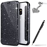 Galaxy S8 Case,Galaxy S8 Cover,ikasus Crystal Shiny Glitter Plating TPU PU Leather Flip Wallet Pouch Bookstyle Cover & Card Slots Protective Case Cover +Touch Pen Dust Plug for Galaxy S8,Black