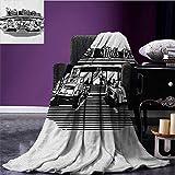 Retro Custom blanket Nostalgic Illustration of Retro Diner Restaurant with Vintage Cars Back in Fifties all weather blanket Black White size:50''x60''