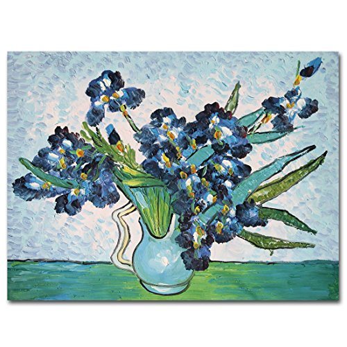 Van Gogh Iris (Muzagroo Art Oil Paintings Van Gogh the Iris Painting Hand Painted Canvas Painting Stretched Ready to Hang(12x16in))