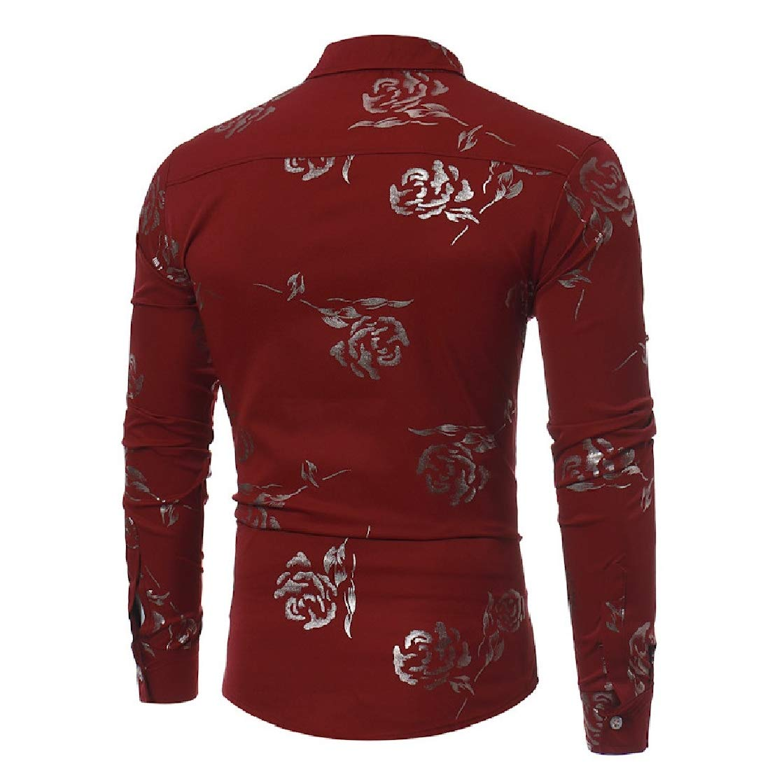 YUNY Mens Britain Regular-Fit Long-Sleeve Rose Fall /& Winter Printed Longshirt Wine Red M