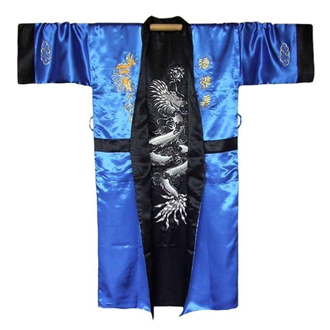 Kimono Blu Rivolgo Da Giapponese Un Uomo Taglia Dragon Cappotto f4z5g