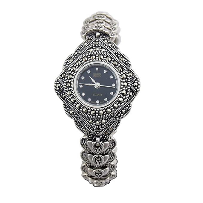 Amazon.com: Sterling Silver 925 Watches for Women - Antique Jewelry Bracelet Wristwatch HFS2: Watches