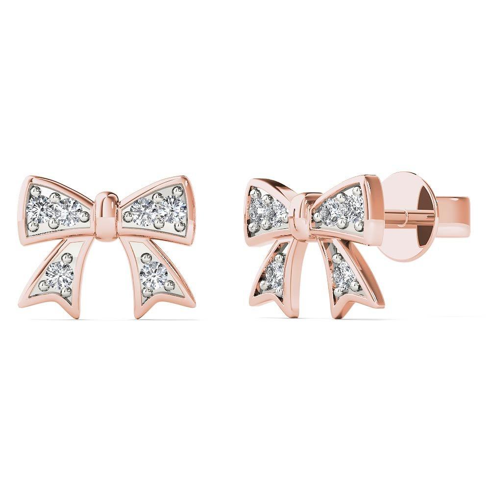 JewelAngel Women's 10K Rose Gold Diamond Accent Bow Stud Earrings (H-I, I1-I2)