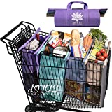 over the shoulder cooler bag - Lotus Trolley Bags -w/ LRG COOLER Bag & Egg/Wine holder! Reusable Grocery Cart Bags sized for USA. Eco-friendly 4-Bag Grocery Tote.100% Qlty GUARANTEE