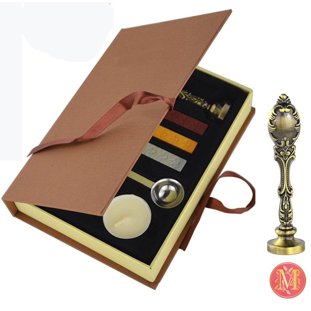 VIVISKY(TM) Stamp Seal Sealing Wax Vintage Classical Old-fashioned Antique Alphabet Initial Letter Set Brass Color Creative Mysterious Stamp Maker Kit (M) by VIVISKY