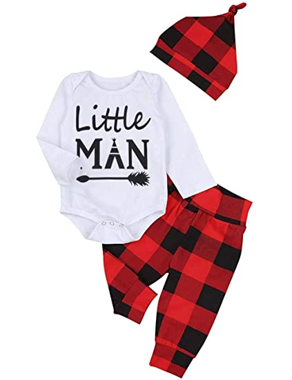 119adfed404 Newborn Baby Boy Girl Clothes New to The Crew Print Romper Plaid Pants +  Cute Hats