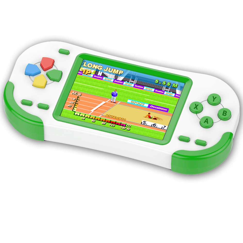 TEBIYOU Handheld Game Console for Kids Portable Video Game Player with Built in 16 Bit 220 HD Classic Games 3.0'' Large Screen Electronic Handheld Games for Seniors Adults Children Birthday (Green)