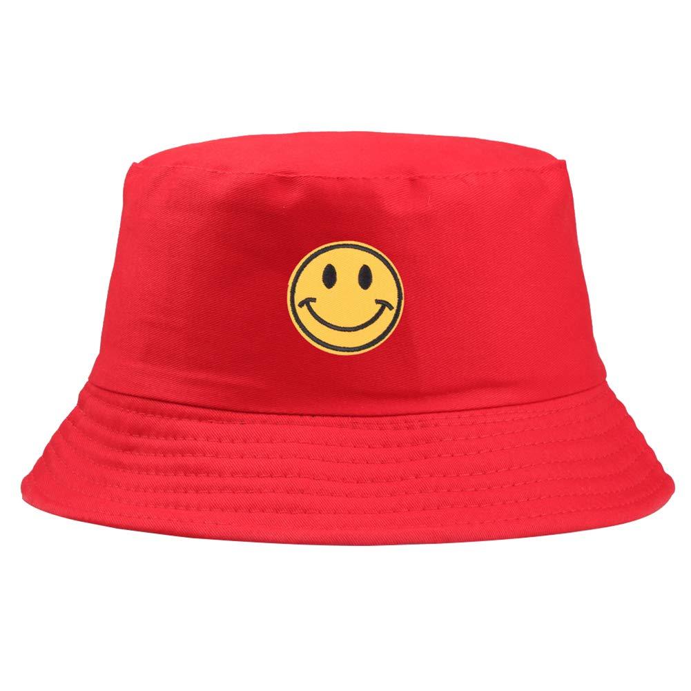 ink2055 Smiley Face Embroidered Folding Fisherman Sun Hat Outdoor Men Women Ladies Bucket Cap Hat - Red