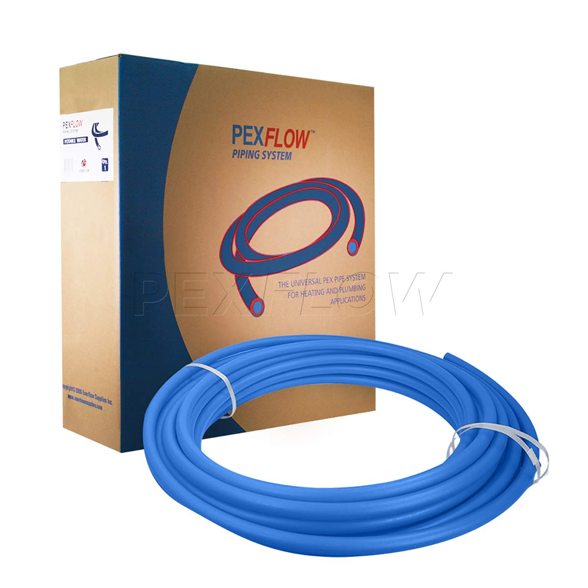 Pexflow PFW-B1100 PEX Potable Water Tubing Non-Barrier Pipe, 1 Inch x 100 Feet, Blue by PEXFLOW (Image #2)