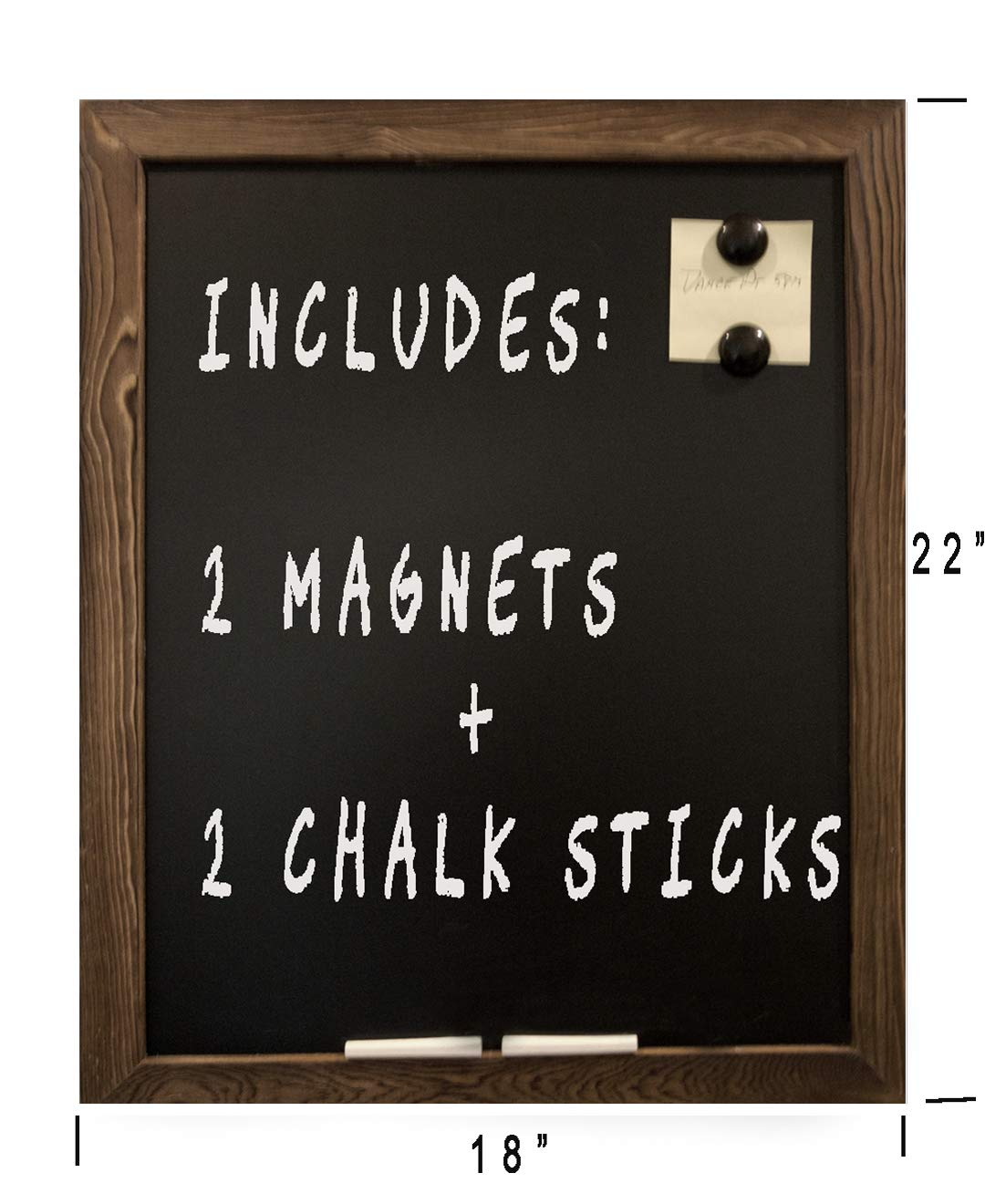 Chalkboard Magnetic Hanging Wall Chalk Board Sign Rustic Torched Wood Framed 18''x22'' Blackboard- Chalk and Magnets-Non Porous Chalk Board- Kitchen, Home Decor, Office, Bar, etc.