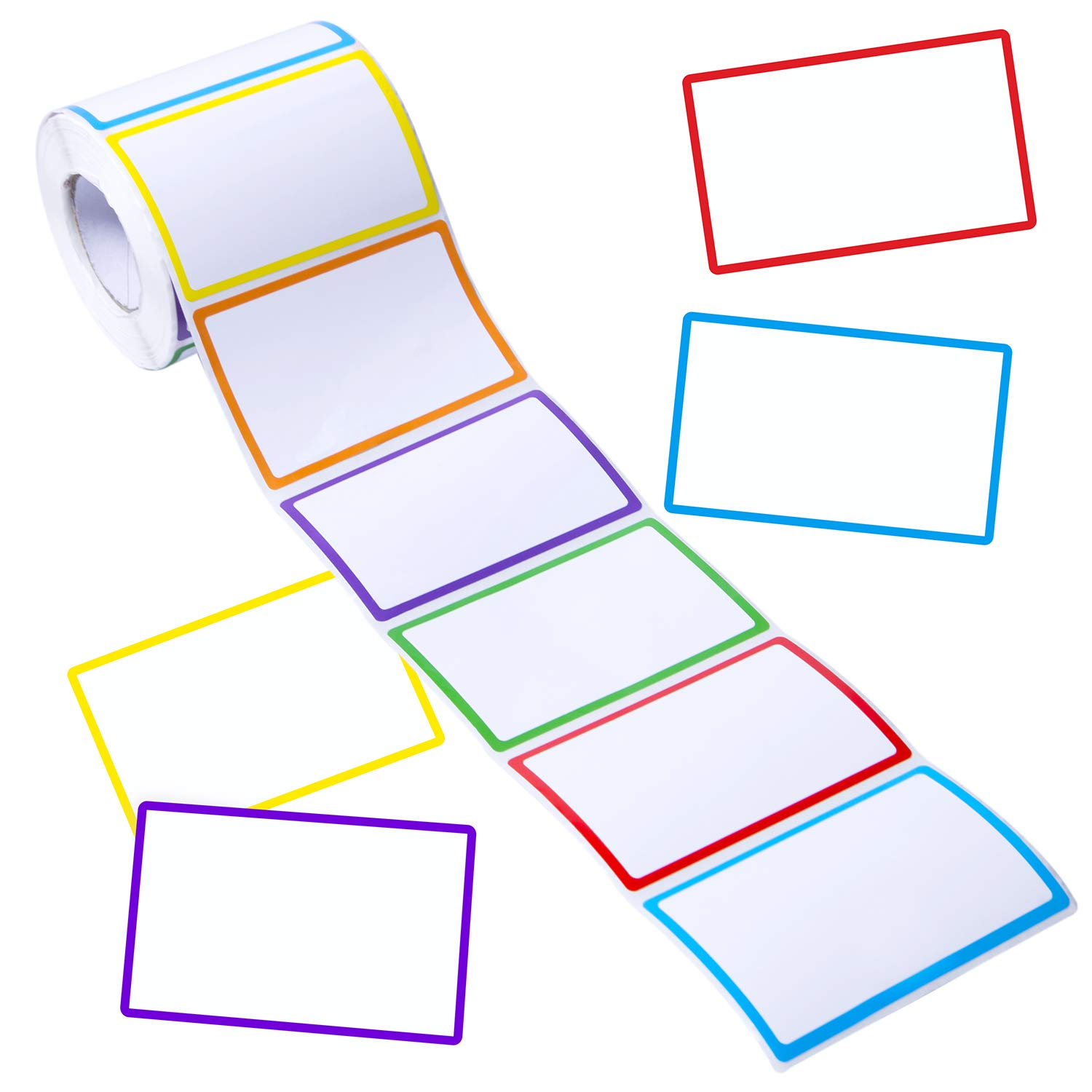 400pcs Colorful Border Name Tag Labels Adhesive Name Label Stickers Plain Name Tag Stickers for School, Parties, Kids Clothes, Jars, Bottles