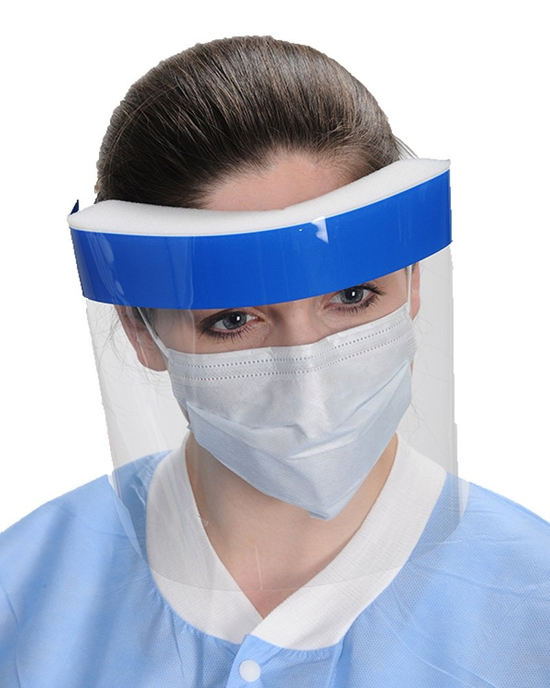 Cutting Edge - FACE SHIELD-FULL SIZE - 9 Inch/ 23 cm long, SAVE FACE SHIELDS, superior material (7.5 mil thickness PET), excellent visibility and extended usage, anti-fog all around, elastic, 100/ box