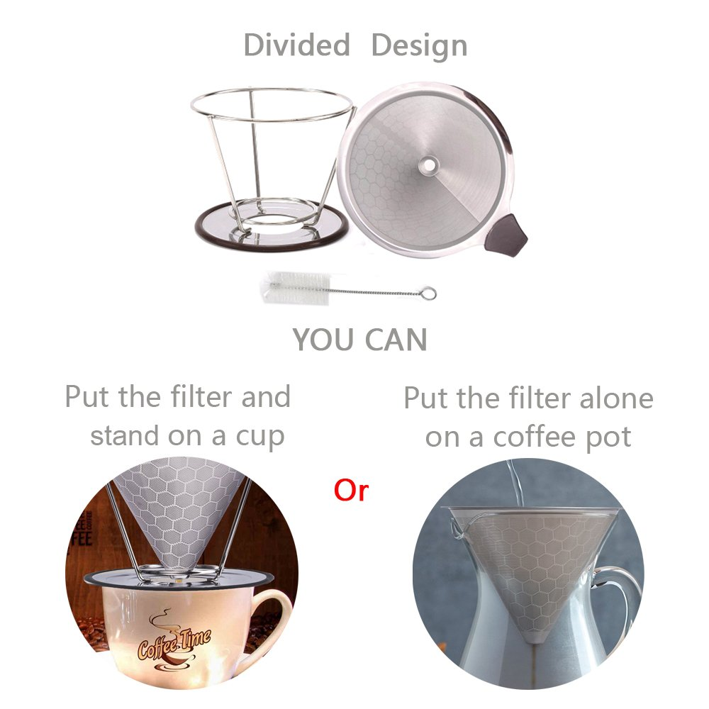 Premium Stainless Steel Coffee Filter Paissite Reusable Pour Over Coffee Dripper Cone With Non-slip Cup Stand and Brush Honeycomb Design Paperless