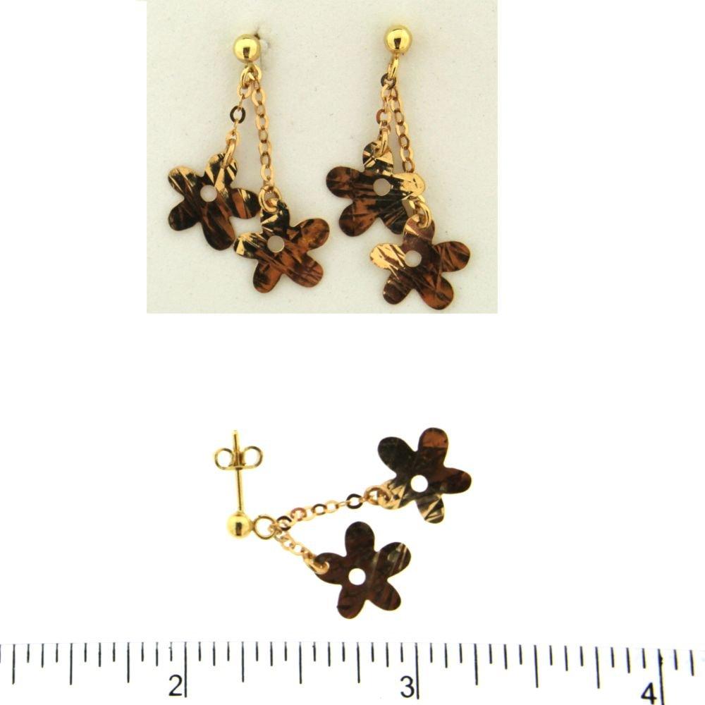 18K Yellow Gold Diamond Cut Flowers Dangle Post Earrings L 1 inch