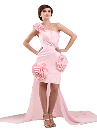 Angel Formal Dresses Womens One-shoulder Short Prom Dresses Evening Dresses - Pink -