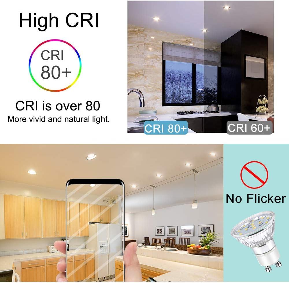 LED Bulbs for Recessed Track Lighting GU10 LED Light Bulbs 120/° Beam Angle 50W Halogen Bulbs Equivalent GU10 Base 3000K Warm White 3W 240 Lumens