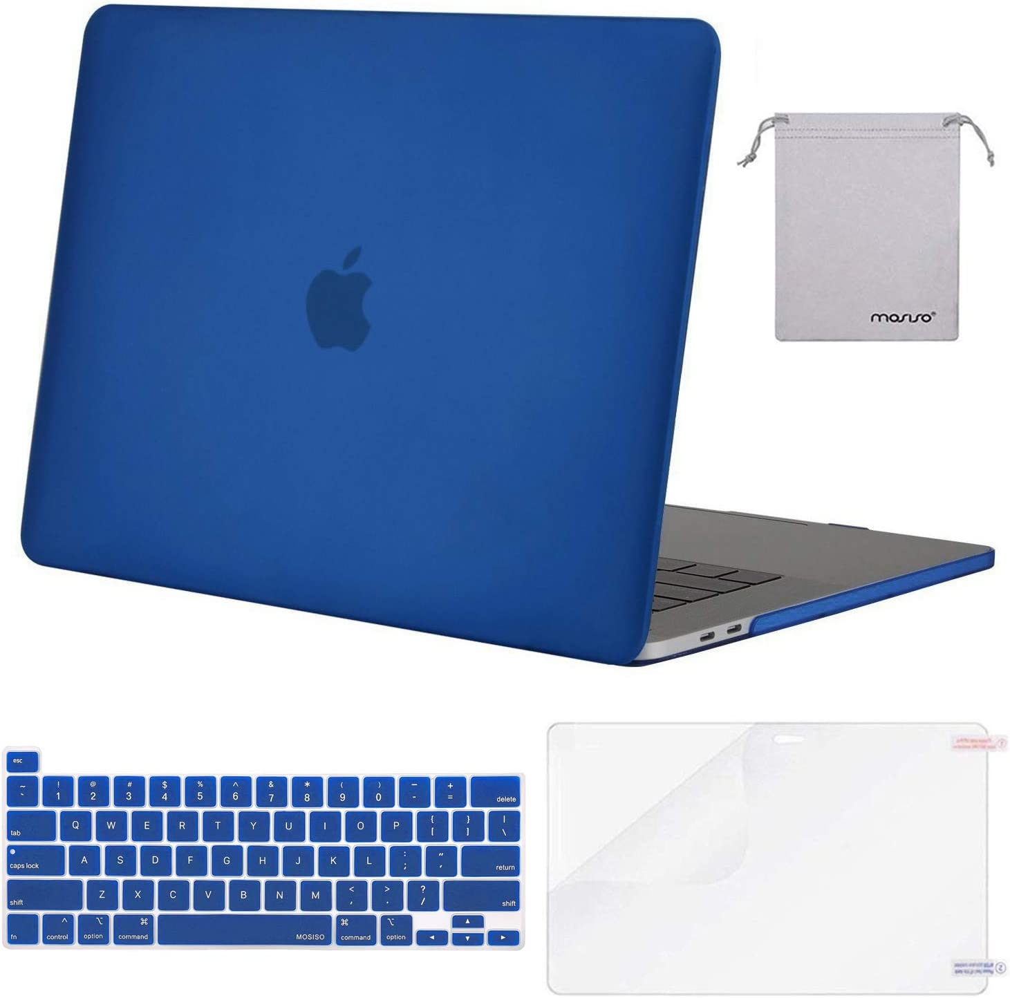 MOSISO MacBook Pro 16 inch Case 2019 Release A2141 with Touch Bar & Touch ID, Plastic Hard Shell Case & Keyboard Cover & Screen Protector & Storage Bag Compatible with MacBook Pro 16, Royal Blue