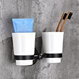 Modern Style Wall-Mounted Solid Brass with Ceramic Cup Square Bathroom Double Tumbler Holders Cup Holder1