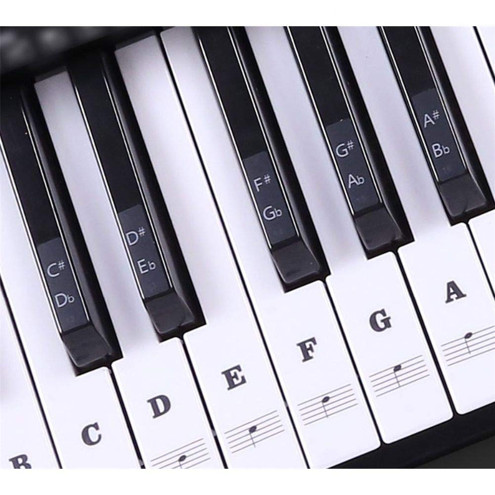 Piano Stickers for Keys, Full Set Removable Keyboard Stickers for 37/49/54/61/88 Keys Piano Beginners&Kids Learning Piano, with Instruction Note Labels Stickers, Black&White Musumer