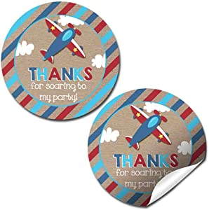 Airplane Up & Away Birthday Party Thank You Sticker Labels, 40 2
