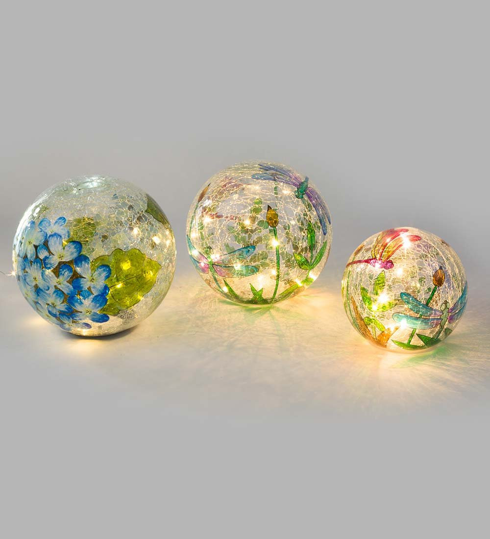 Crackle-Glass Balls, Set of 3 - 5 , 6 and 8 dia.