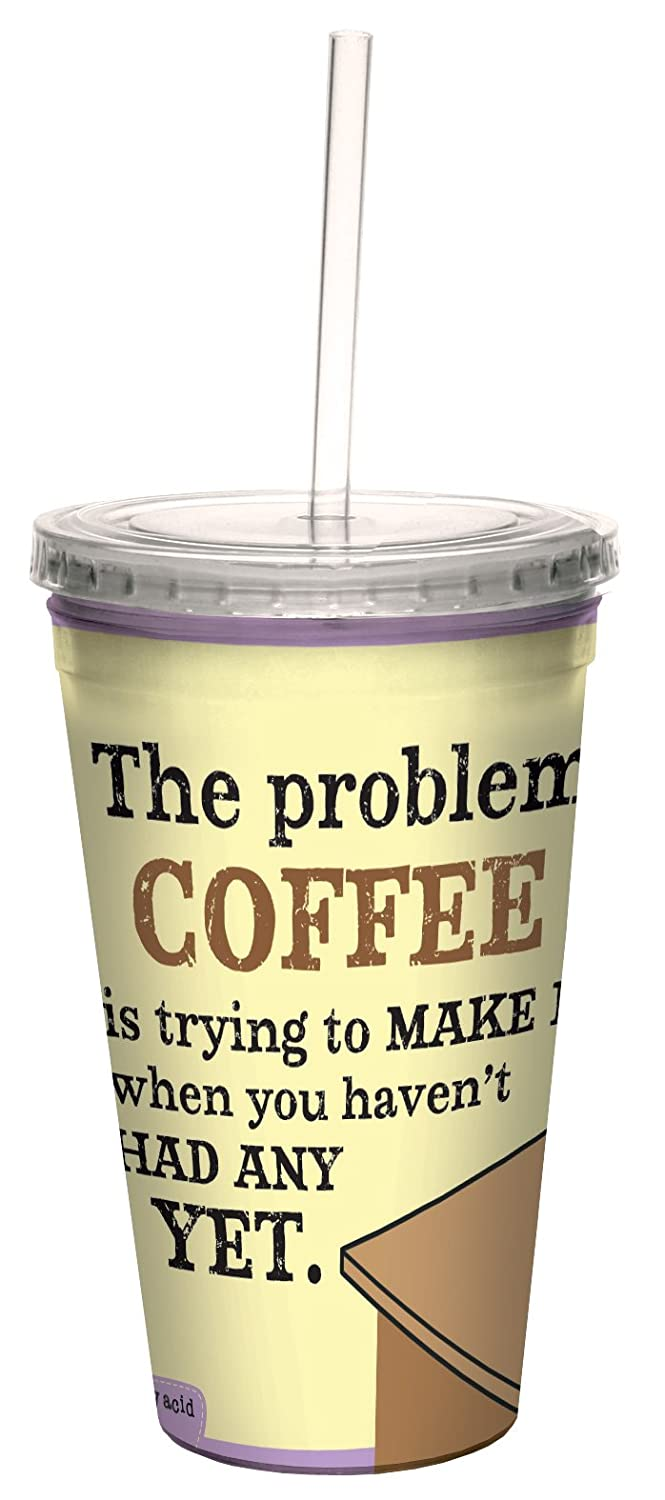 Tree-Free Greetings cc33795 Hilarious Aunty Acid Double-Walled Cool Cup with Reusable Straw, Problem with Coffee, 16-Ounce