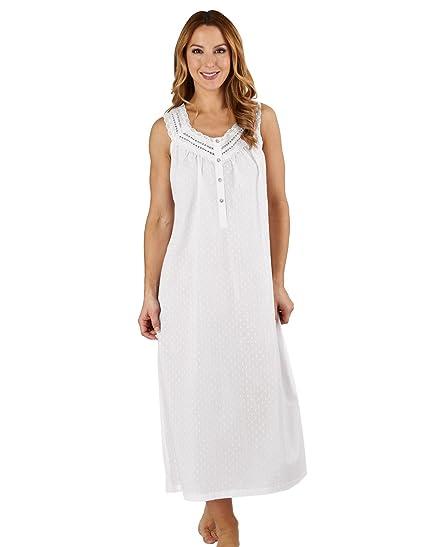 Slenderella ND1211L Women s Dobby Dot White 100% Cotton Gown Nightdress ... a157d94b9