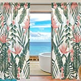 SEULIFE Window Sheer Curtain, Tropical Palm Tree Leaves Flower Voile Curtain Drapes for Door Kitchen Living Room Bedroom 55x84 inches 2 Panels