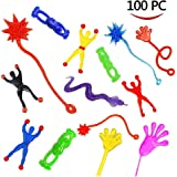 100 Pieces Assorted Stretchy Sticky Toy, Includes 20 Sticky Hands, 20 Sticky Snakes, 20 Sticky Hammers, 20 Sticky Frogs and 20 Wall Climb Men For Kids For Fun