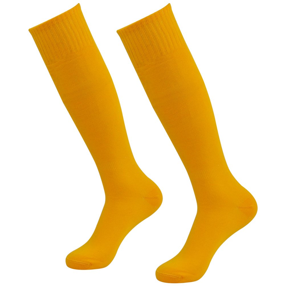 J'colour Youth Tube Socks, Men's Women's Knee-High Cheerleading Soccer Sport Team Long Tube Socks 2 Pairs Yellow by J'colour