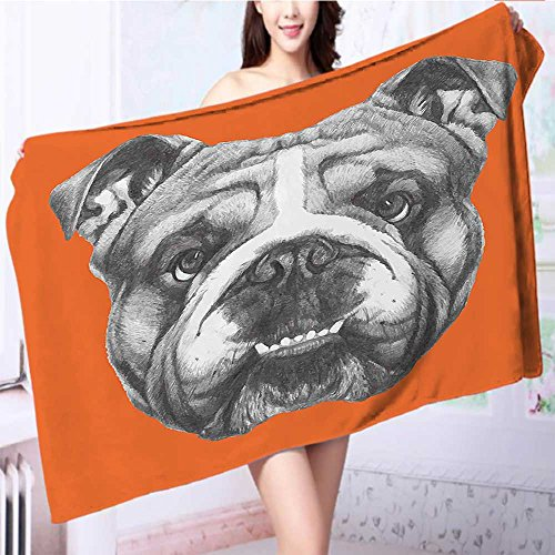 ultra soft and absorbent bath towel Dog Portrait of English Bulldog Puppy Pet Black White Orange for Maximum Softness L63 x W31.2 INCH by also easy
