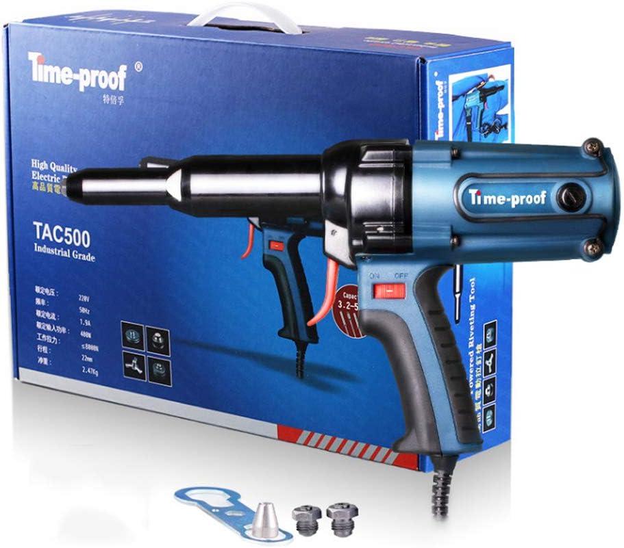 Isunking Remachador de Electricidad 220V, Pistola Remachadora Pistola de Clavos 400W 8000N Carrera 22mm TAC500