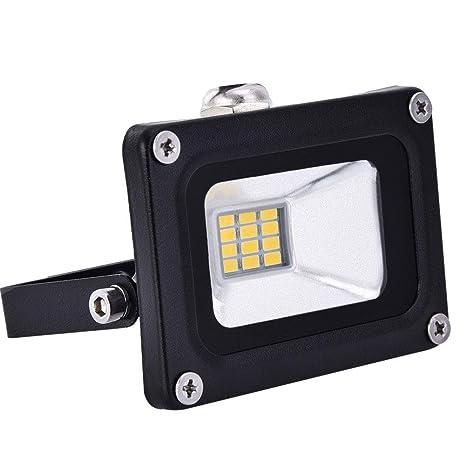 12V Foco LED, 10W 800LM Blanco Cálido 3000K Reflector Foco Proyector LED para Exteriores Floodlight, Súper Brillante luz de Seguridad para Jardín, ...