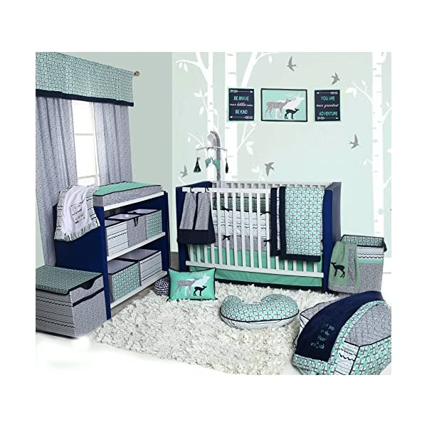 Bacati Tribal 10-Piece Nursery-in-a-Bag Crib Bedding Set with Bumper Pad, 100 Percent Cotton Percale Girls Crib Bedding Set with Bumper Pad for US Standard Cribs (Noah Mint/Navy)