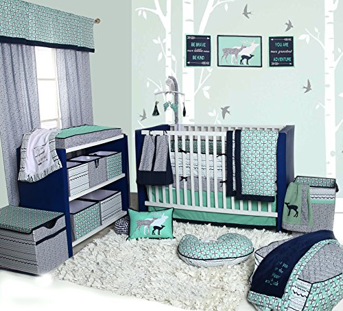 0 Piece Nursery-in-a-Bag Cotton Percale Crib Bedding Set with Bumper Pad, Mint/Navy ()