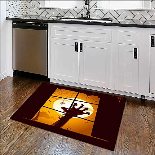 Easy To Store Rug Halloween scene View from window Soft, Non-slip W39