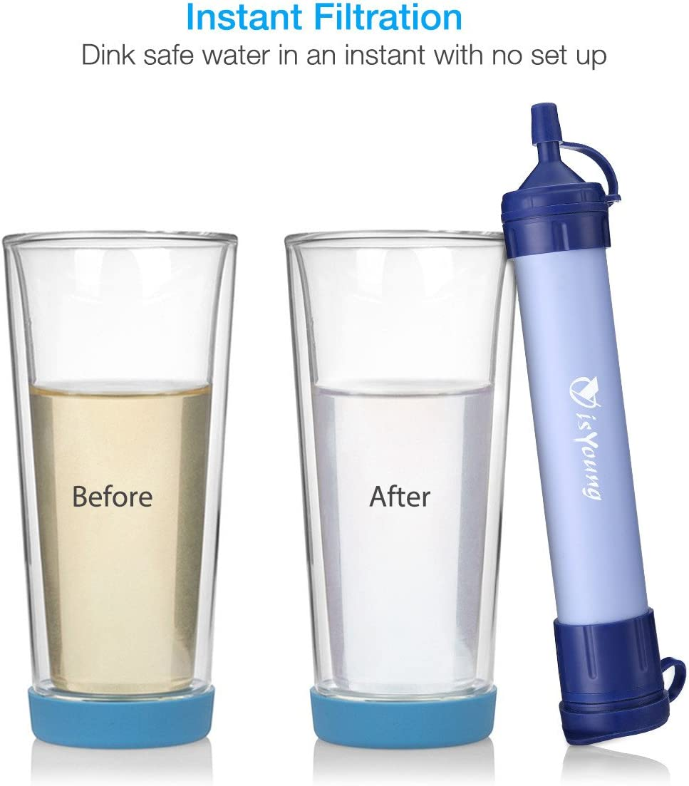 isYoung Water Filter Straw Survival Straw Outdoor Emergency Water Filter Kit Chemical Free Come with Cleanning Set and Carabiner
