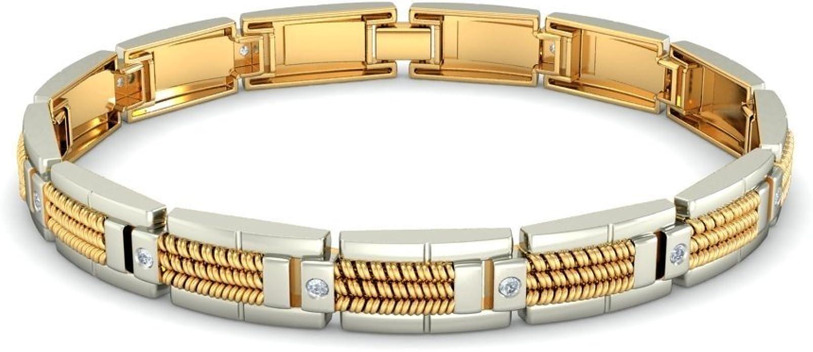 18K Yellow Gold IJ| SI 8 inches identification-bracelets Size 0.06 cttw Round-Cut-Diamond