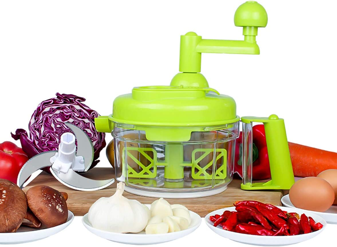 Tenta Kitchen 3.2-Cup, 800ml Hand Crank Food Processor, Manual Food Chopper