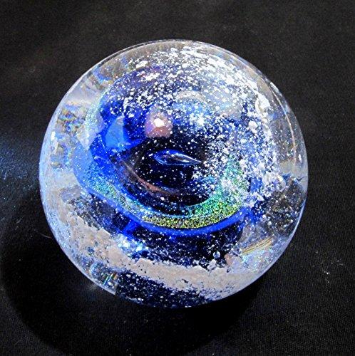 Urn Art - Cremation Ash PET Memorial Glass BLUE Nebula Swirl Paperweight - Art Glass Cremains Urn