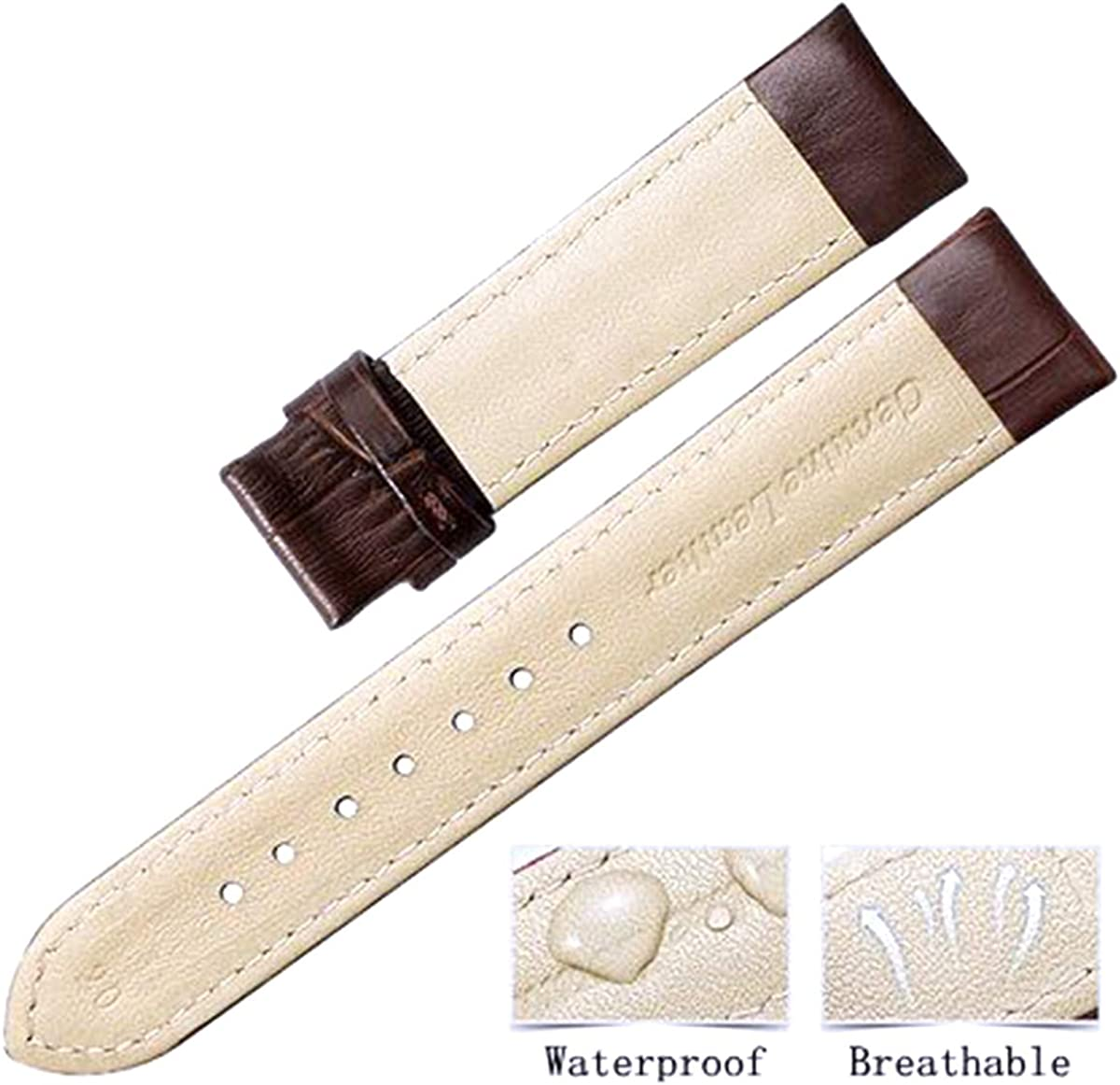 Cinturini orologi Genuine Leather Strap 18 mm 19 mm 20 mm 21 mm 22 mm 24 mm imbottito Croco del modello Black With Silver